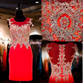 Christmas Sexy Party Dresses 2016 Lace Homecoming Graduation Cheap Rhinestones New Year Short red knee length Cocktail Dresses
