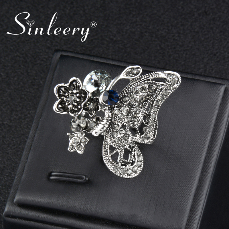 SINLEERY Vintage Boho Crystal Butterfly Big Rings For Women Antique Silver Color Animal Wedding Jewelry Size 7- 10 Jz013 SSH