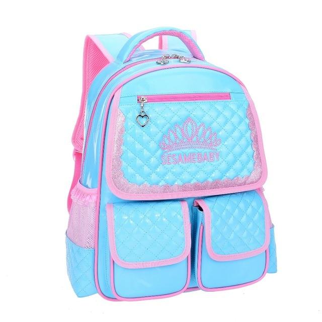 2017 cute children orthopedic schoolbag forgirls Princess style children's backpack for Teenager High quality nylon school bags