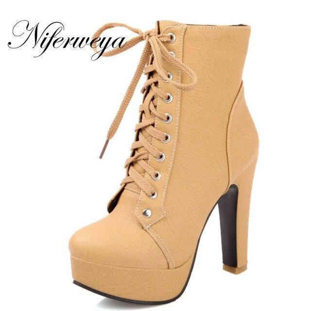 2016 plataforma Sexy salto alto moda inverno PU mulheres sapatos personalizar pequenos estaleiros 31 32 33 Dedo Do Pé Redondo Lace-Up Ankle Boots 1026