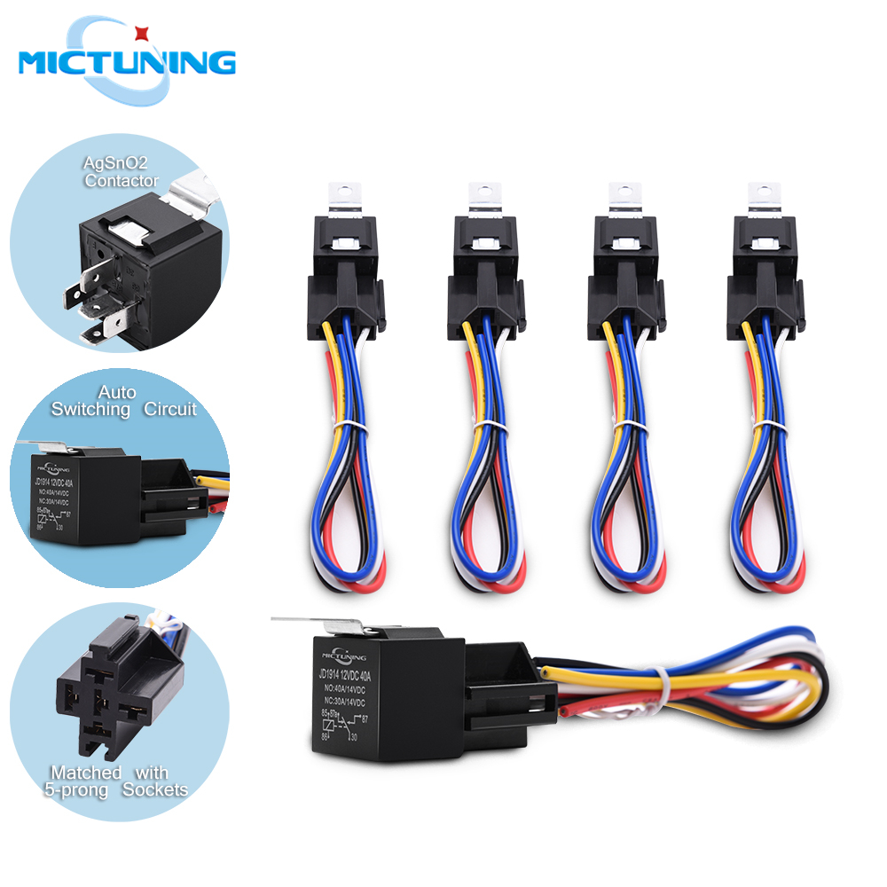 40Amp Waterproof IP67 5-pin Relay Switch with Harness Set