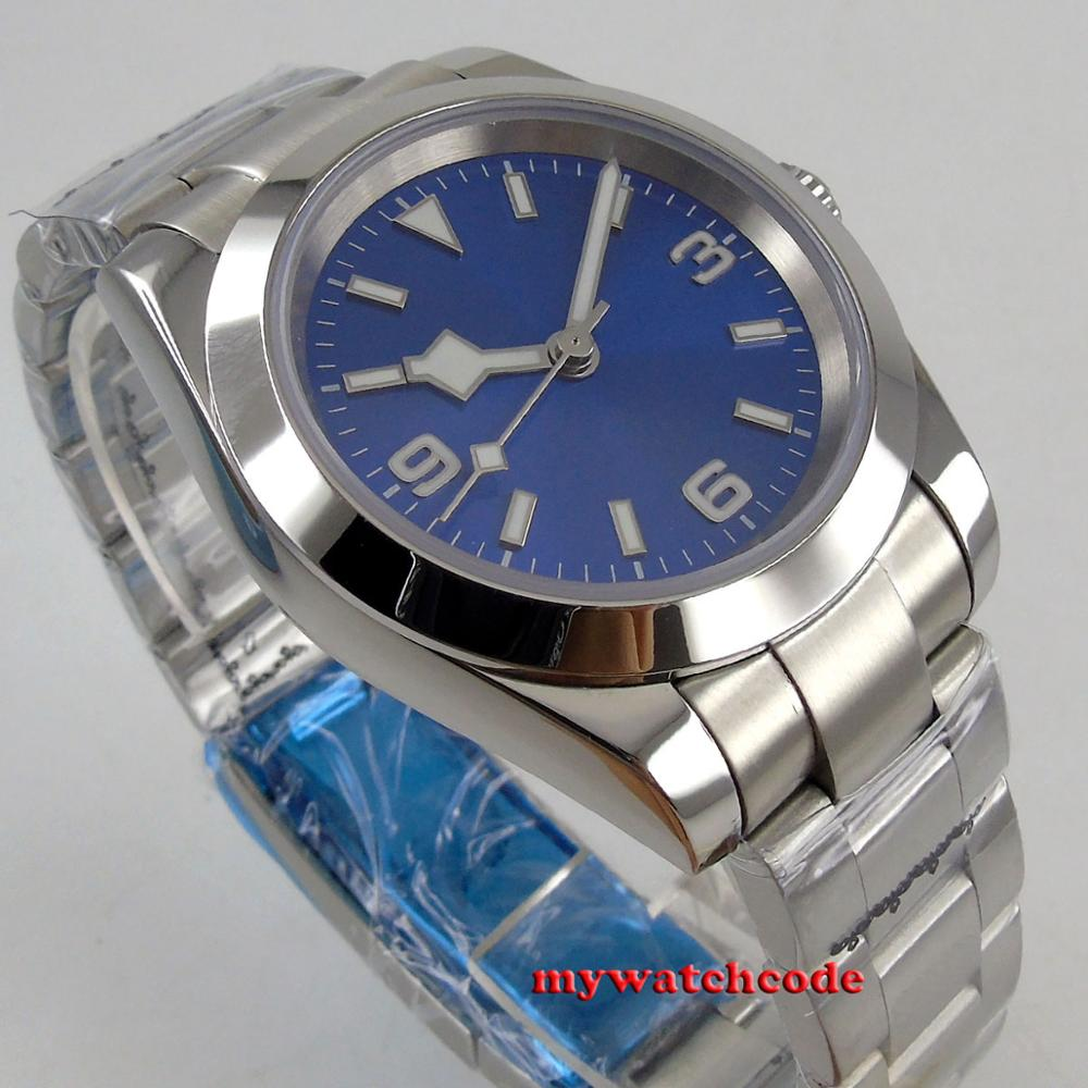 40mm bliger stérile cadran bleu marque lumineuse saphir verre automatique flocon de neige argent montre hommes montre - 5