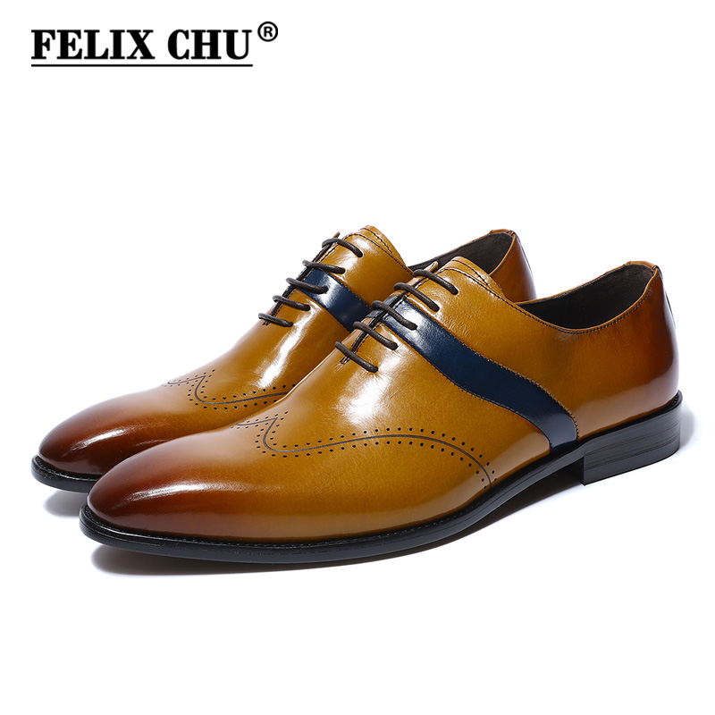 FELIX CHU 2018 Luxury Italian Style Genuine Leather Men Yellow Oxfords With Wingtip Detail Lace Up Party Office Male Dress Shoes contrast pu grommet detail dress with necklace