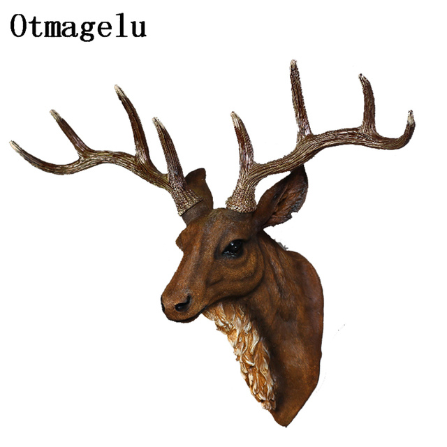 Vintage Resin Reindeer Ornament Figurines Miniatures Animal Statues For Home Hotel Wall Hanging Background Wedding Decoration