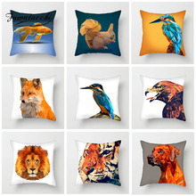 Fuwatacchi Animal Cushion Covers Geometric Dog Tiger Pillow Cover For Home Sofa Chair Decorative Gradient Pillowcases 45cm*45cm