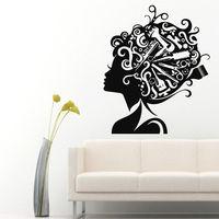壁飾りガールビニールステッカーくしはさみデカールヘア美容サロンの装飾
