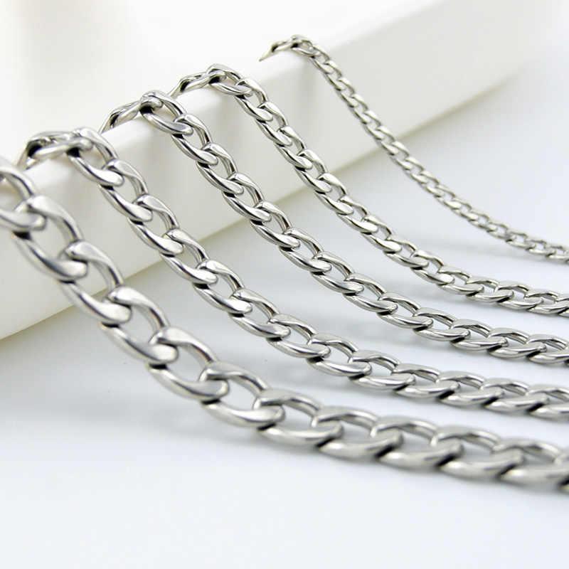 Simsimi cadena cubana de acero inoxidable venta en Metro 3/5/6/6,8/7,4mm cadena gruesa pesada de bordillo para hombres DIY joyería al por mayor collar