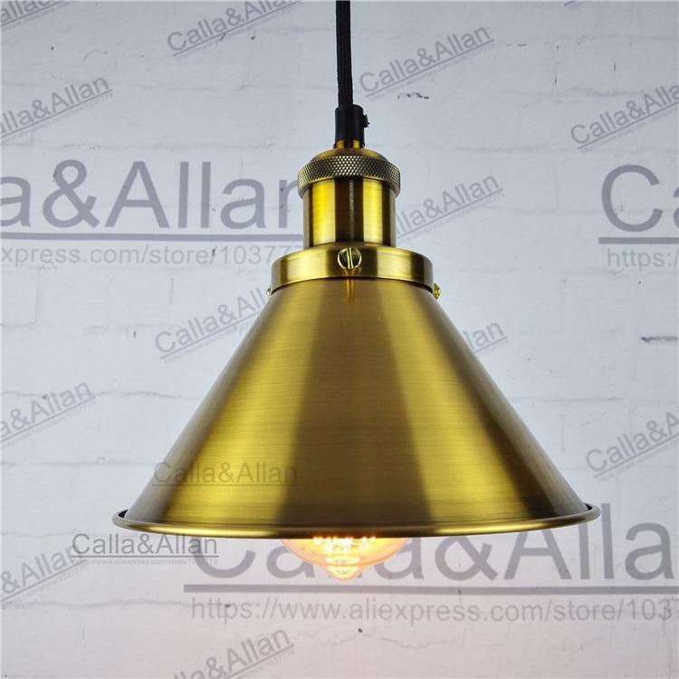 Antique brass finish Loft Industrial Iron pendant lights Vintage Ceiling mounted hanging Lamp Fixture lustres bronze
