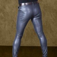 Sexy Men Pu Faux Leather Pencil Pants Matte Shiny Fashion Pants Soft Skinny Gay Pants Zipper