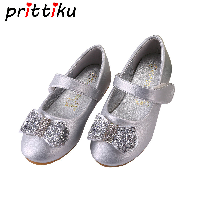 c297cc676a145 2018 Baby Toddler Girl Rhinestone Sequin Glitter Bowknot Flats Little Kid  Silver Pink Loafers Big Children Princess Dress Shoes