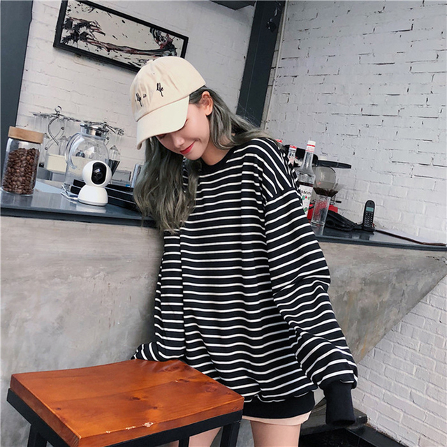 Hoodies Women Elastic Cuff Hem O-Neck Striped Loose Retro Chic Korean Style Harajuku Soft Trendy Sweatshirts Womens All-match 4