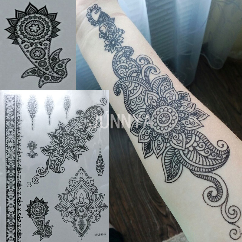 21x15cm black temporary arabic tattoos lace henna tattoo for Black temporary tattoo