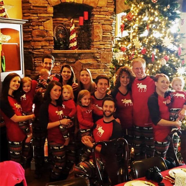 2018 Navidad Alces De Navidad Familia Pijamas Set Ninos Adultos