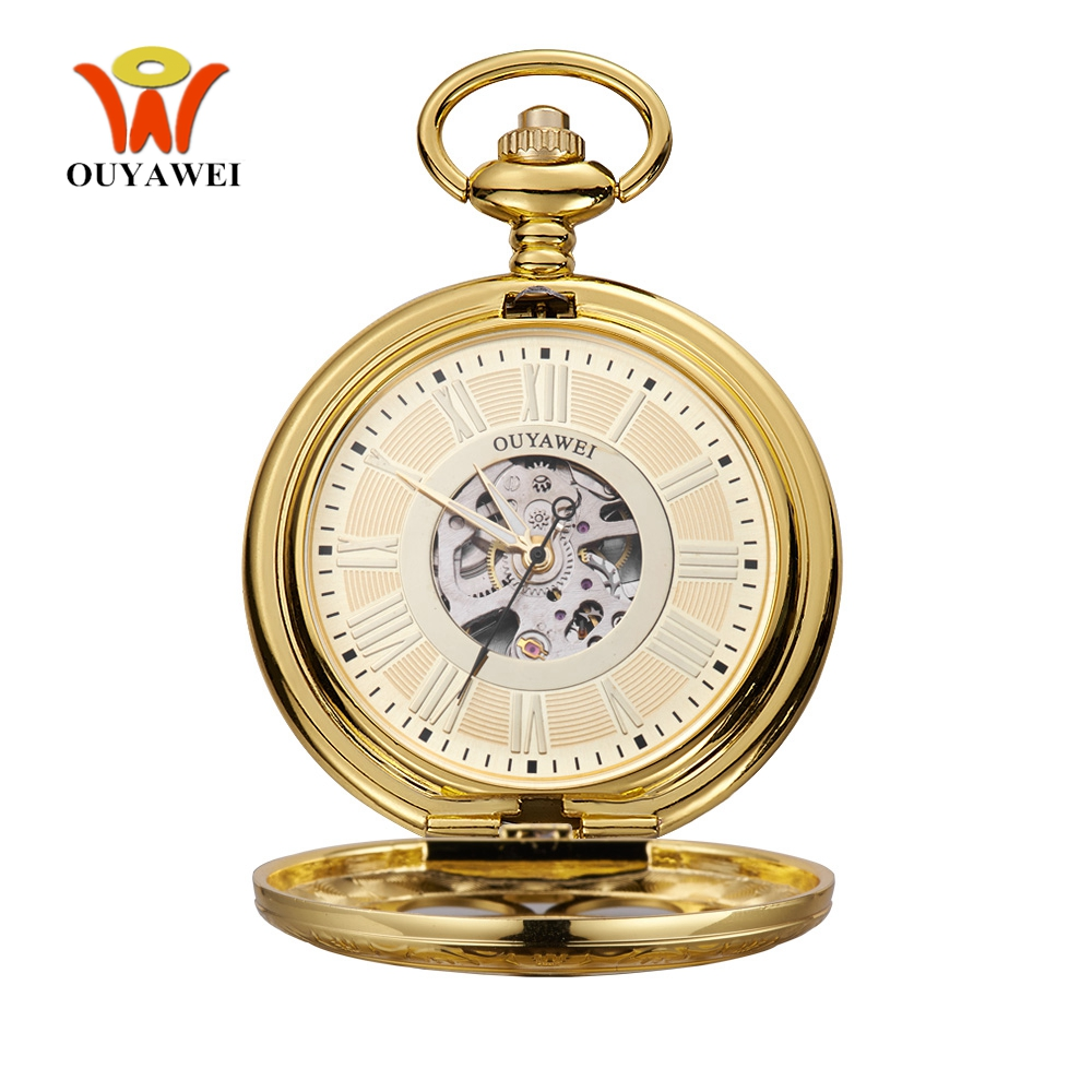 Fashion Brand OYW Mechanical Hand Wind Pocket Watch Men Man Stainless Steel Case Pocket Fob Watch Analog Clock Steampunk Horloge