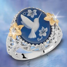 New Peace Dove Ring Lady Ring For Women Engagement Anniversary Floral Bird Shape Opal Hollow Women's Rings Fashion Charm Jewelry new perfect charm logo engraved serling silver s925 vintage allure ring for women floral charm rings ales jewelry lady gift 1pz