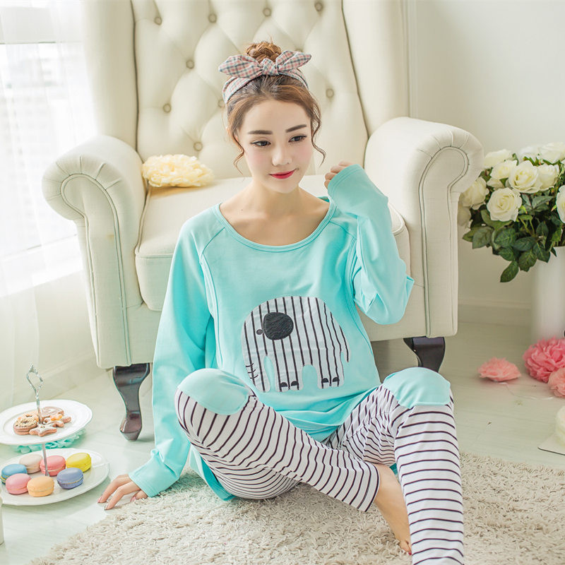 Fashion Maternity Clothes Cartoon long sleeved Sleepwear Breastfeeding nightgown Nursing Pajamas for Pregnant Women 2pcs/ Set maternity nursing pajamas set soft comfortable breastfeeding sleepwear maternity pajama nightgown european 3pcs set