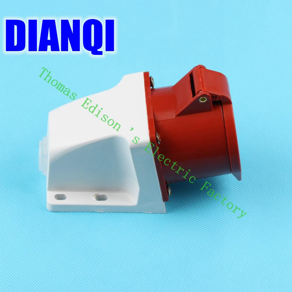 Industrial Socket Plug Coupler 125 CNQD-125 Red 32A 220V~415V 3P+E+N 5pin 60PCS/carton high quality ac 360 415v 16a ie 0140 4p e free hanging industrial plug red white