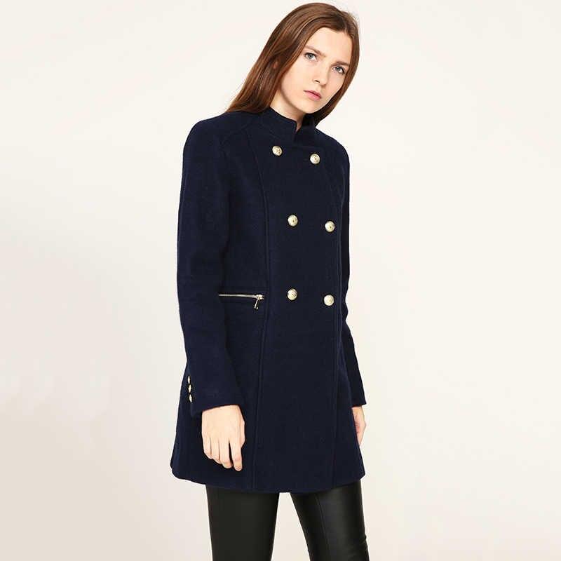 6a44b33bb282 ESCALIER Новый дизайн Vogue зимнее женское пальто темно-синее пальто с  большим меховым ...