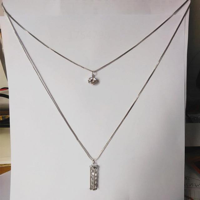 4ee7e8cf42f6 2018 columna de cristal diseño doble collares largos Mujer señoras suéter cadena  plata collar largo de