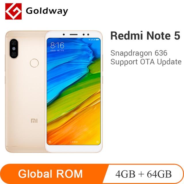"Original Xiaomi Redmi Note 5 4 GB RAM 64 GB ROM Snapdragon 636 Octa Core 5,99 ""18:9 Pantalla Completa 12MP + 5MP AI Cámara teléfono móvil"