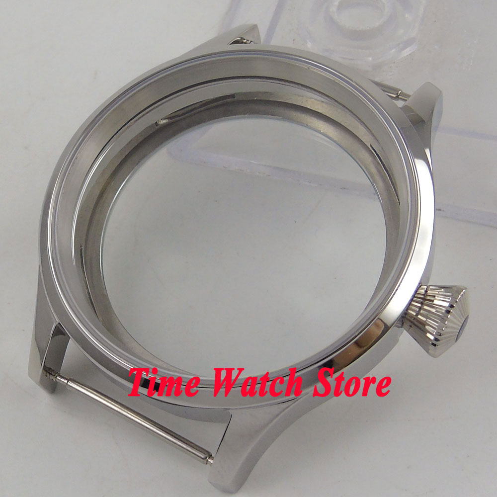 43mm 316L stainless steel watch case sapphire glass big crown fit for ETA 6497 6498 hand winding movement C14543mm 316L stainless steel watch case sapphire glass big crown fit for ETA 6497 6498 hand winding movement C145