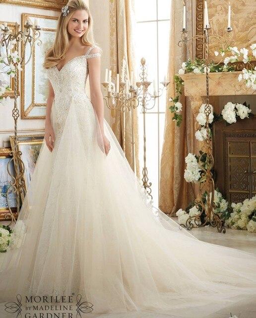 Vestido de noiva Abnehmbare Rock Hochzeitskleid Perlen Spitze ...
