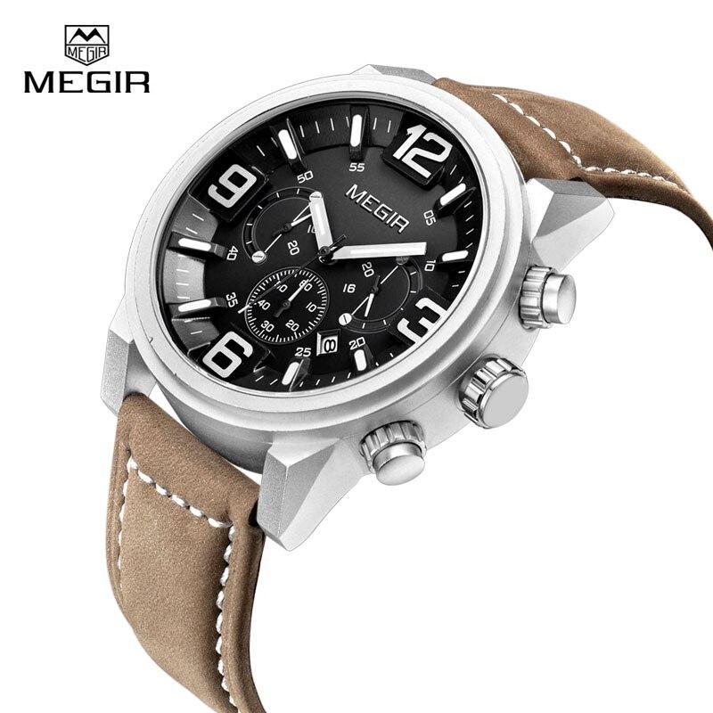 Men Quartz Watch Luminous Waterproof Casual Sport Chronograph Wristwatches Luxury Brand Megir Wrist Watchs Relojes seiko watch premier series sapphire chronograph quartz men s watch snde23p1