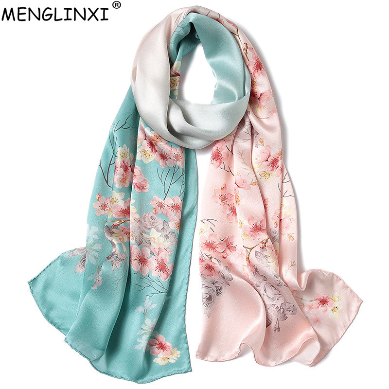 Hand-rolled Edges Floral Print 100% Silk   Scarf   For Women Pure Silk Spring   Scarf   Shawl Fashion Luxury   Scarves     Wraps