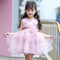 New Pattern Hot Summer Wear Children Lace Leisure Time Princess Child Sleeveless Dance Dress Kids Clothing Mesh Bow