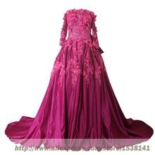 Abendkleider Real Photo Abendkleider Mit Langen Ärmeln Plus Size Abendgesellschaft 3D-flowers Abendkleider Abaya Robe De Soriee Abiye