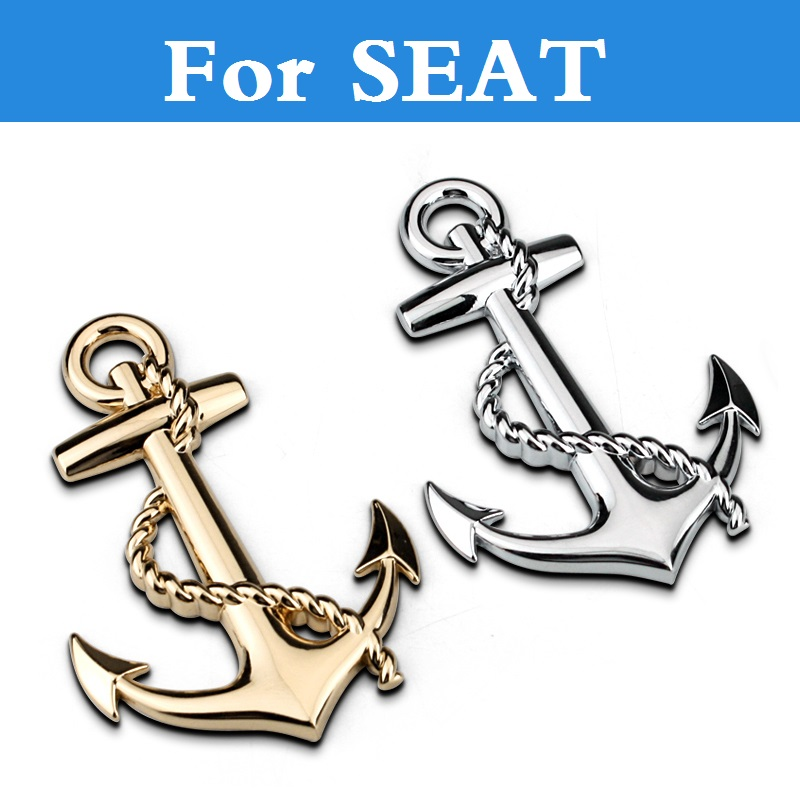New Metal anchor cross navy stickers emblem car styling decal For SEAT Cordoba Exeo Ibiza Ibiza Cupra Leon Leon Cupra Mii Toledo