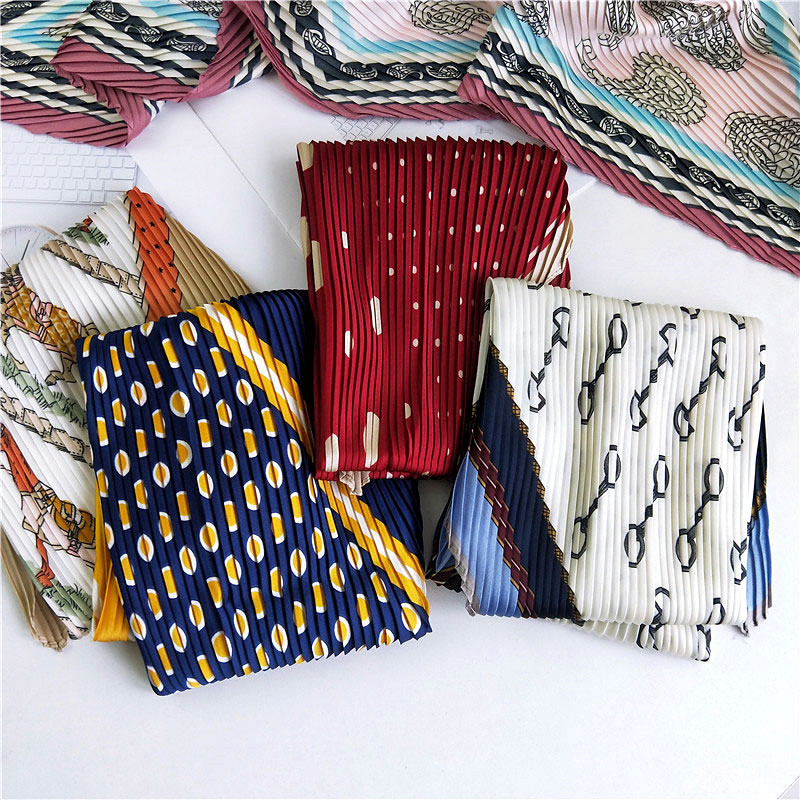 42X92 New Korean Version Of Small Square Scarf Women Horse Dots Printed Pleated Scarf For Women Retro Joker Neck Scarf Shawls