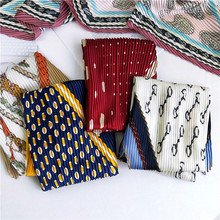 42X92 New Korean version of small square scarf women horse dots printed pleated scarf for women retro Joker neck scarf shawls stylish patchwork pattern pleated scarf for women
