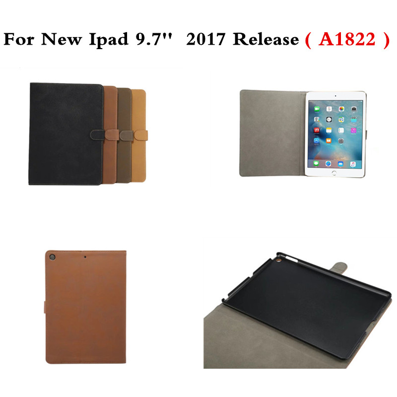 Luxury Retro matte PU Leather Cover with Stand Smart Wake Up Sleep Flip Case For New ipad 9.7 inch 2017 A1822 Model hot sale high quality flip pu leather case for apple ipad mini 1 2 3 with retina smart stand sleep wake up pouch cover