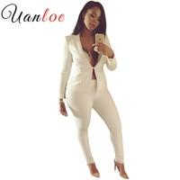 UANLOE Women Slim White Pants Suits 2017 New Fashion Celebrity Long Sleeve One Button Suits Pants