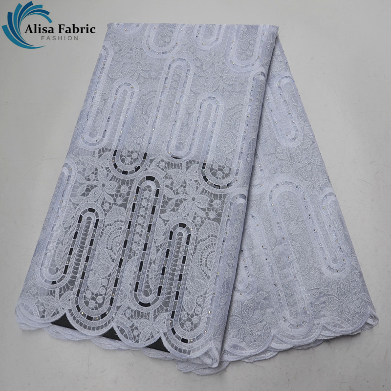 White embroidery african organza lace fabric high quality 2019 nigeria lace fabric with stones 5 yards/pcs for women party dress