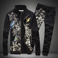SHANBAO brand clothing men's casual sportswear suit 2017 autumn fashion printing of high-quality cotton jacket + pants men