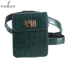 Caker Brand 2017 Crocodile patte Pack Siksnas soma Zaļš khaki vidukļa iepakojums Maisiņš Ceļojuma vidukļa komplekts Sieviešu ādas vidukļa soma Black White