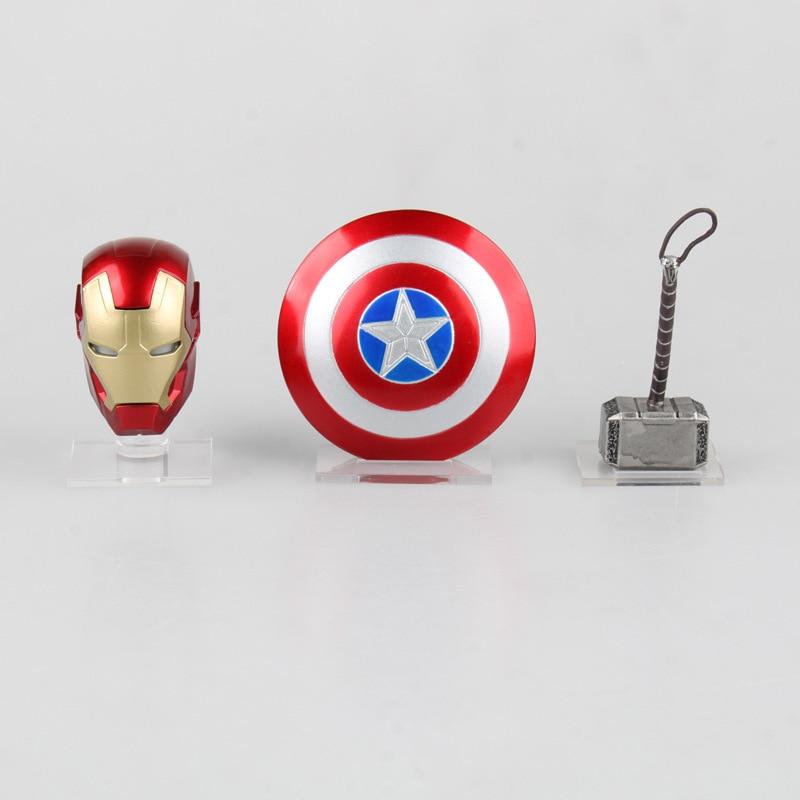 Avengers Super hero Weapons Captain America Shield + Iron Man Helmet + Thor Hammer Figures Model Toys with LED Light Set avengers super hero mini weapons captain america shield iron man helmet thor hammer figures model toys with led light set page 9