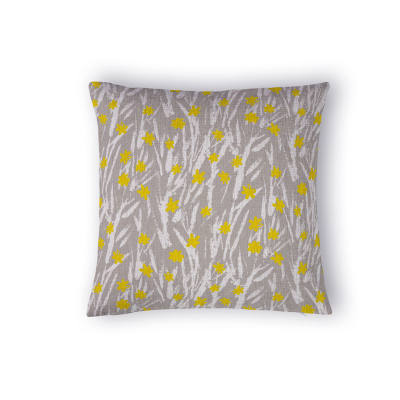 Great Simple Abstract Cushions For Sofas High End Fashion Vintage Cushion Cover  Plant Small Yellow Flowers Decorative Pillows