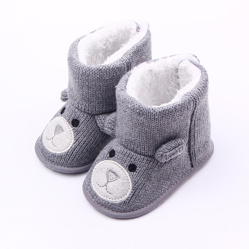 DreamShining Winter Warm Baby Shoes Infant First Walkers Toddler Newborn Snow Knitted Boots Cute Cartoon Bear Girl Boy Shoes