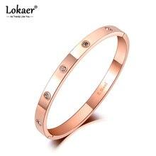 Lokaer Luxury CZ Crystal 6mm Cuff Bangles For Women Rose Gol