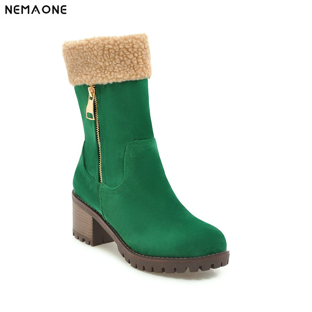 NEMAONE Women Boots Female Winter Shoes Woman Fur Warm Snow Boots Fashion Square High Heels Boots Black Green botas mujer все цены