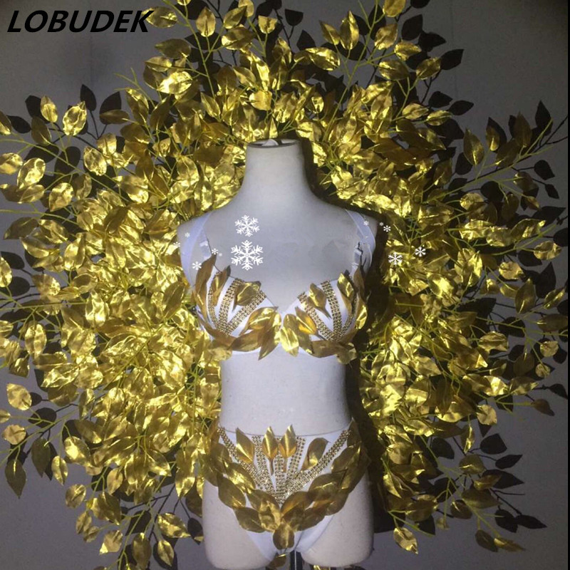 Gold Crystals Bikini Leaves Backboard Set Sexy Party Models Catwalk Costume Nightclub Leading Dancer Show Ballroom Stage Outfits