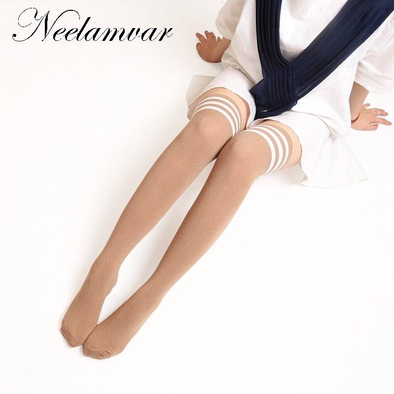 Women Spring Autumn Cotton Stockings Fashion Thigh High Over The Knee Socks For Female stripe Long Sock High Quality stockings in Stockings from Underwear Sleepwears