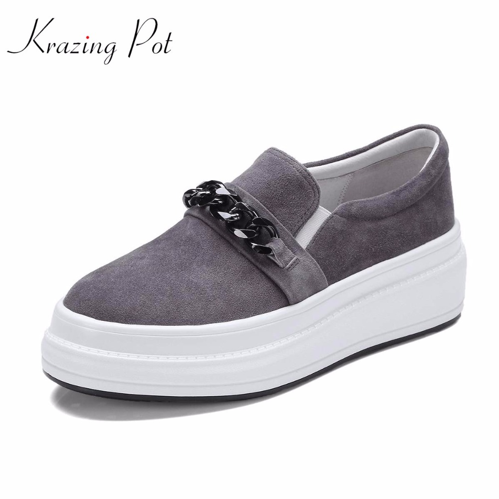 Krazing Pot 2018 new sheep suede metal chains platform loafers sneakers for women round toe slip on female vulcanized shoes L61 цена 2017