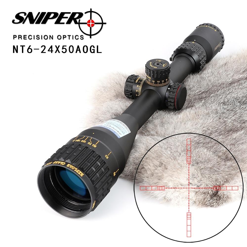 SNIPER NT 6-24X50 AOGL Chasse lunettes de Visée Tactique Optique Vue Pleine Taille En Verre Gravé Réticule RGB Illuminé la Portée de Fusil