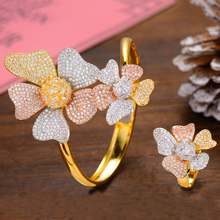 SISCATHY Trendy Cubic Zircon Flower Bangle/Ring Luxury Dubai Bridal African Wedding Jewelry Sets For Women Accessories 2019 New цены