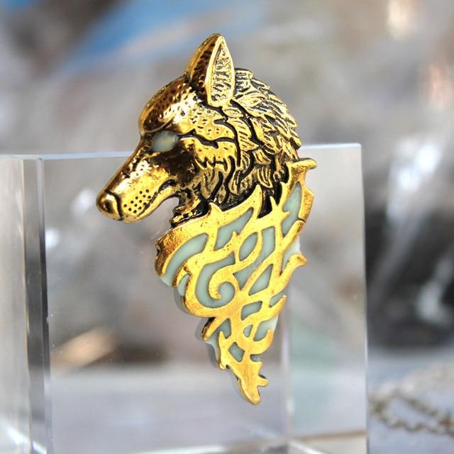 Viking géant loup broches lueur dans le noir poitrine maison Stark loup broches vintage targaryen dragon pour garçons cadeaux