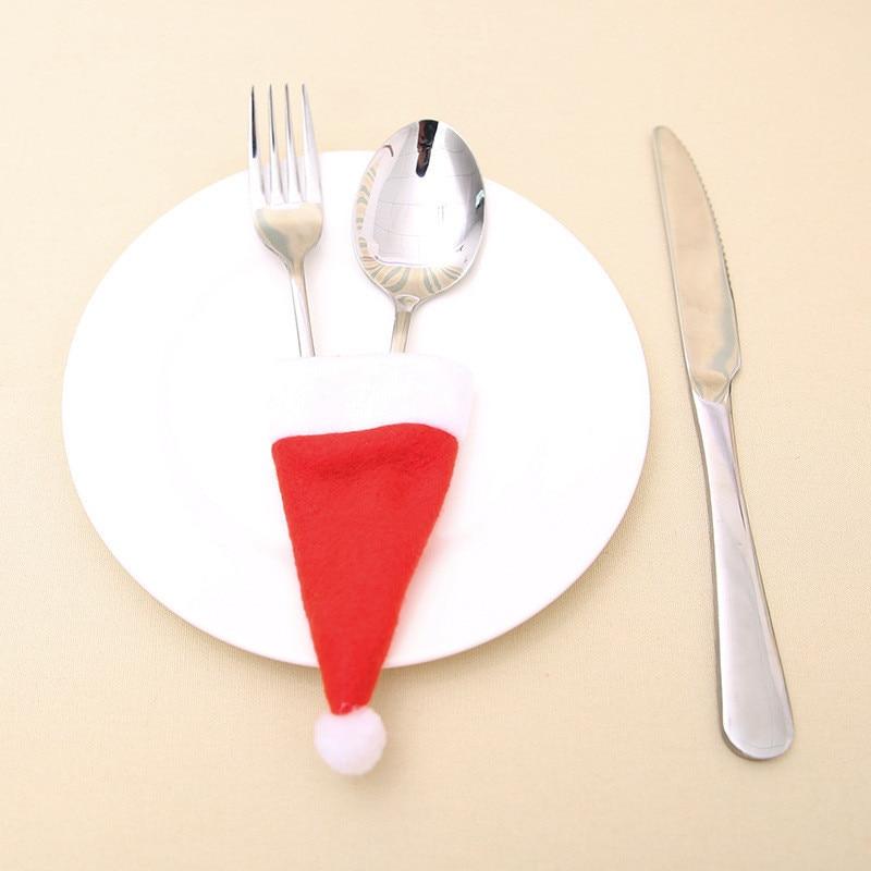 Santa Hat Reindeer Christmas New Year Pocket Fork Knife Cutlery Holder Bag Home Party Table Dinner Decoration Tableware 62249